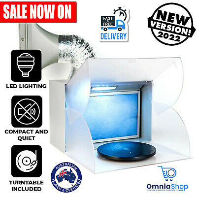 Portable Airbrush LED Spray Booth Kit with Exhaust Extractor Turntable Light New