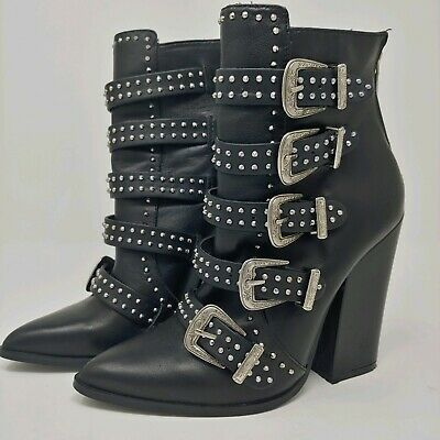 fe175a5fc56 NEW STEVE MADDEN Comet Ankle Studded Buckle Boots, Black Leather, Sz ...