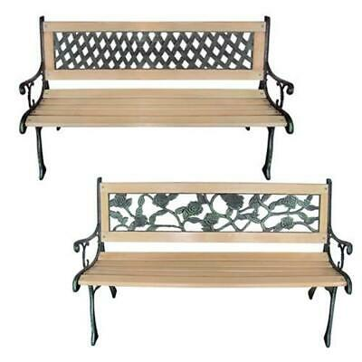 vidaXL Garden Bench with Backrest Cast Iron Wood Patio Rose/Diamond-patterned