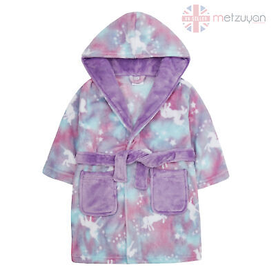 Kids Girls Unicorn Dressing Gown Infants Child Teens Soft Plush Fleece Robe Cosy