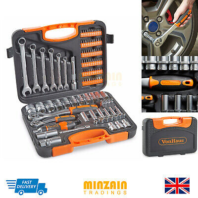 104 Piece  Wrench Kit Socket Set & Ratchet Driver With Case New