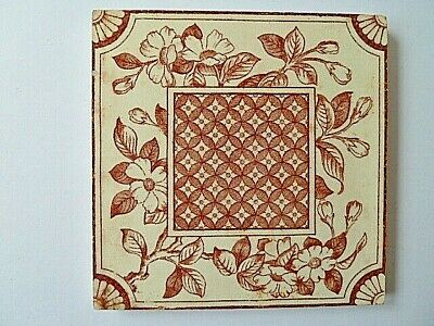 Vintage Ceramic Abstract Pattern Tile---6 X 6 Inches