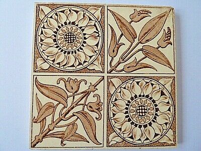 Vintage Ceramic Abstract Four Patterned Tile---6 X 6 Inches