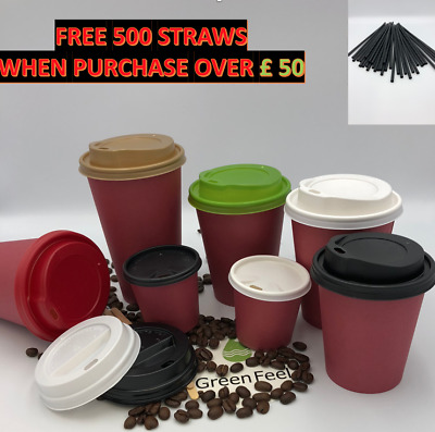8oz 12oz 16oz Red Single Wall Paper Cups & Lids x 100 Coffee Tea Hot Cold Drinks
