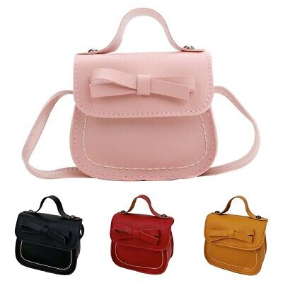 LD_ Children Girls Bow Solid Color Faux Leather Tote Crossbody Shoulder Bag Co