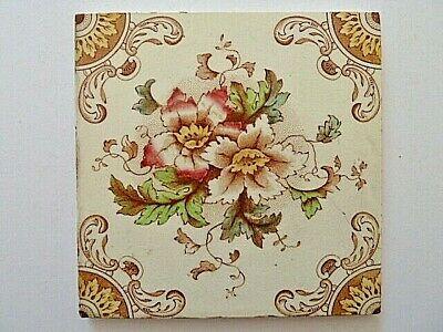 Vintage Ceramic Flower Pattern Tile---6 X 6 Inches