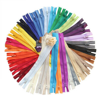 100pcs 9 Inch Colorful Nylon Coil Zippers Tailor Sewing Craft Assorted Colors AU