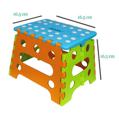 Blue Folding Step Stool Plastic Foldable Chair Footstool Child Children Toddler