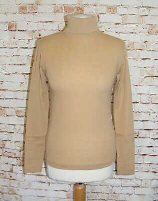 size 12-14 vintage 70s polo neck jumper NOS deadstock long sleeve camel brown