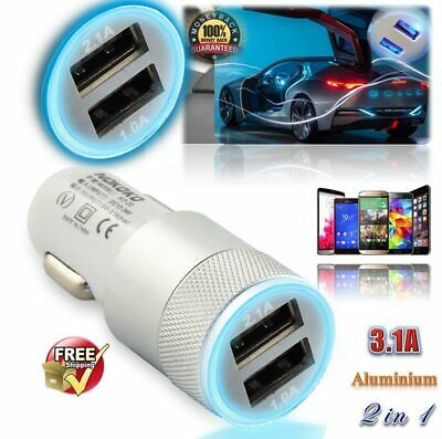 Super Fast Dual Usb in Car Charger Cigarette Socket Led Lighter Universal Silver