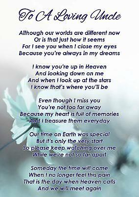 To A Loving Uncle Memorial Funeral Graveside Poem Card & Free Ground Stake F342