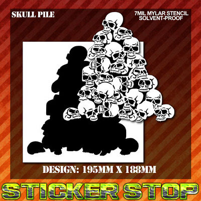 SKULL PILE MYLAR STENCIL (Airbrush, Craft, Re-usable)
