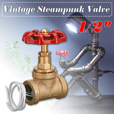 1/2'' Vintage Steampunk Stop Valve Light Switch For Water Pipe Lamp W/Red  🔥