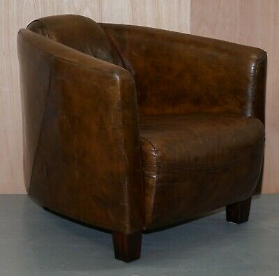 Brown Leather Halo Rocket Armchair Vintage Distressed Upholstery Solid Wood Feet
