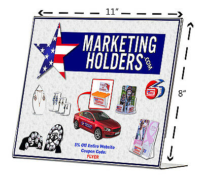 """11""""w x 8.5""""h Sign Holder Horizontal Ad Notice Literature Display Table Qty 25"""