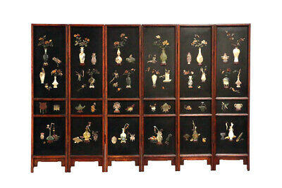 Chinese Folding Floor Screen with Stone Insets