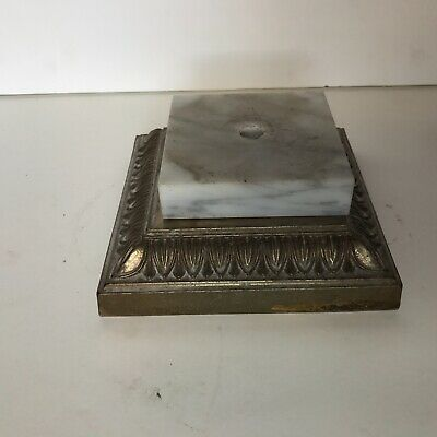 Antique brass plated ornate square electric table lamp base with marble insert
