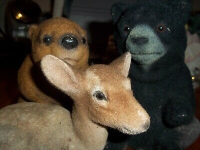 Vintage Banks Animals Japan Deer Black Bear Beaver So Cute As Is