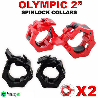 "2"" Olympic Weight Lifting Gym Barbell Dumbbell Bar Spinlock Collars Pair Set 5cm"