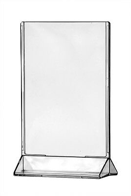 """4"""" x 6"""" Upright Sign Holders Ad Menu Frame Top Load Table Tent Clear Acrylic"""