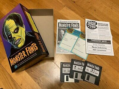 HOUSE Industries Monster FONTS original box set with floppy + T-shirt e catalogs