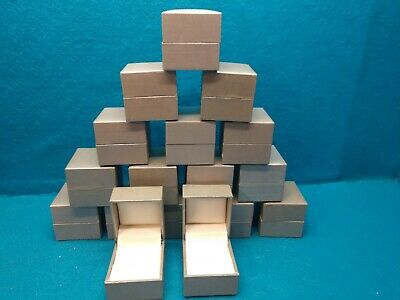 Lot Of 17 Hinged Ring Presentation Boxes~Pewter Color