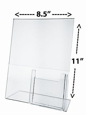 """8.5""""W x 11""""H Table Sign Holder with Pamphlet Pocket Slant Back Stand Acrylic"""