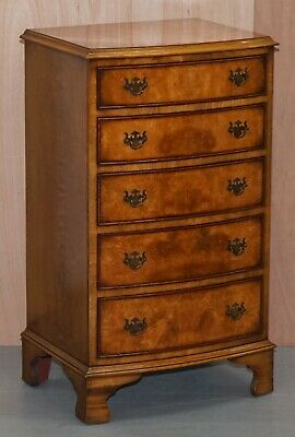 Vintage Medium Sized Burr Walnut Tallboy Chest Of Drawers Bevan Funnell England