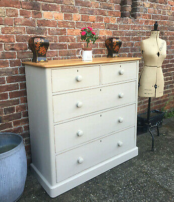 Extra Large Painted Victorian Pine Chest Of Drawers Circa (1850).