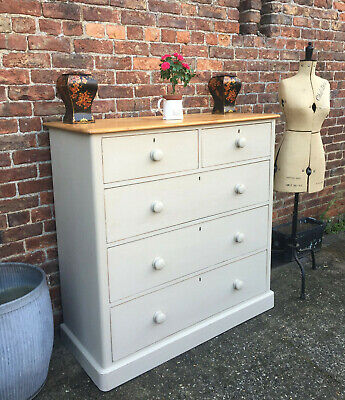 Extra Large Victorian Pine Chest Of Drawers Circa (1850).