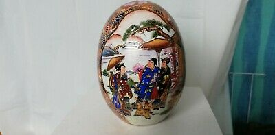 Chinese oriental ornamental ceramic decorative egg hand painted 6""