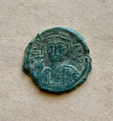 Byzantine bronze follis of emperor Mauritius Tiberius (582-602), dated 598 AD.