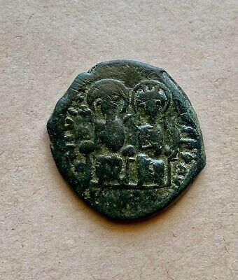 Byzantine bronze follis of emperors Justin and Sophia (565-574). A nice coin!