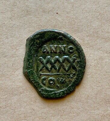 Byzantine bronze follis of emperor Phocas (602-610). A rare type coin!