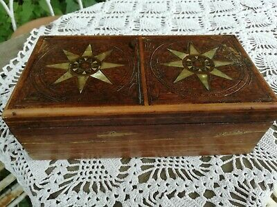 Antique Wooden Box Brass Inlay Parquetry With Mother of Pearl Star Decoration