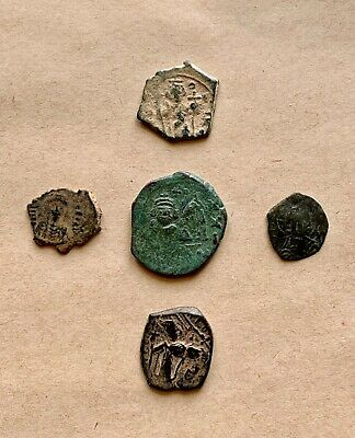 A Lot Of 5 Byzantine Coins  Of Different Types And Periods. Nice Pieces!