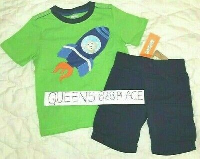 Nwt Gymboree Stripes In Space Set Boys 2T Monkey Rocket Tee Shirt Top Shorts New
