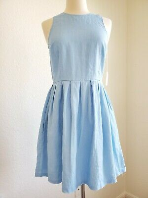 GAP Light Blue Linen Dress Sleeveless Size 0 New With Tags Free Shipping