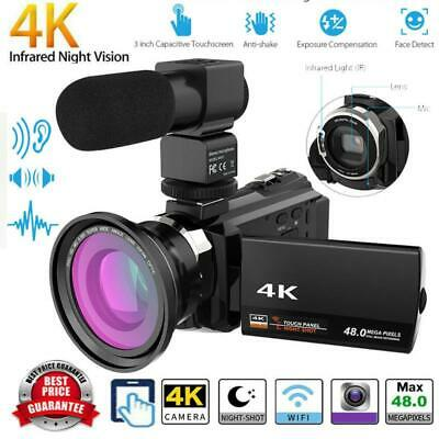 WiFi 4K 16X Ultra FHD Digital Video Camera Camcorder+Microphone+Wide Angle Lens