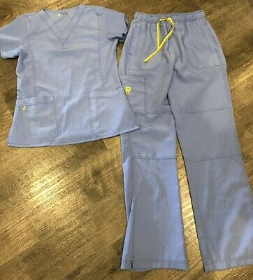 Wonderwink Four Stretch Scrub Set Ceil Blue  Size Small Top, Medium Tall Bottom