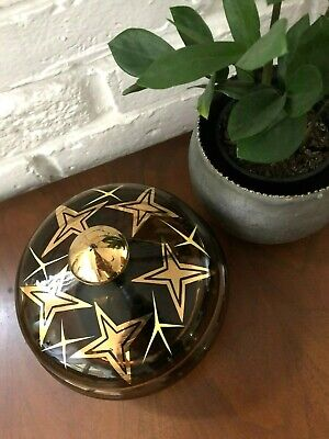 Vintage MID CENTURY MOD Covered CANDY DISH Bowl STARBURST Atomic RETRO Gold MCM
