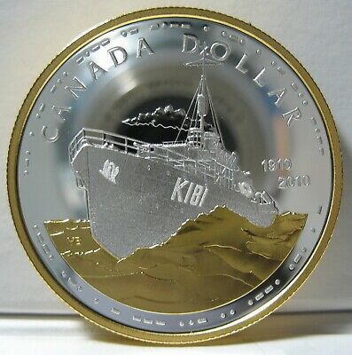 RCM  2010 - 100th Anniv. of Canadian Navy - Proof Silver $1 - Gold Plated - UHC