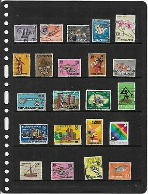 Commonwealth SINGAPORE One Stock Sheet Mixed Used Stamps Collection