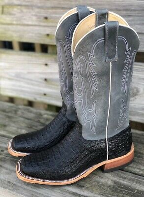 2bb296b020c ANDERSON BEAN MEN'S Black Lux Caiman & Ocean Wipeout Square Toe Boots 321801