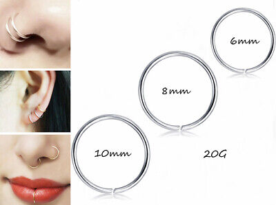 Nose Ring Surgical Steel Lip Nose Rings Daith Tragus Helix Ring Piercing Hoop UK