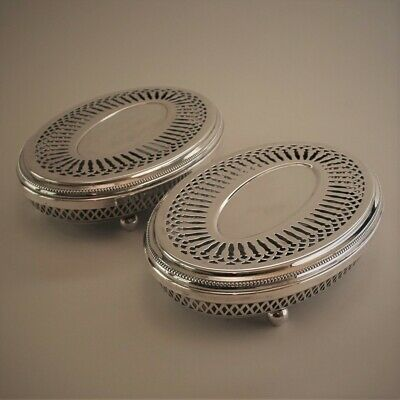 """Vintage Christofle France Silver Plated """"Perles"""" Pair of Hot Plates"""