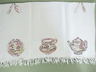 Antique Embroidered Tea Towel Fringed Linen Lavish Embroidery Teapot Silverware
