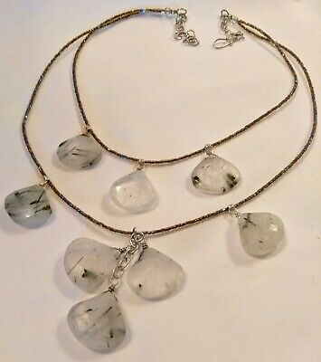 """RUTILATED FACETED QUARTZ NECKLACE w/ BEAUTIFUL INCLUSIONS of DEEP BLACK - 18""""!"""