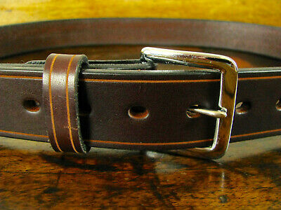 """Mens THICK Creased Brown BULLHIDE Gun Belt Chrome Buckle 1.5"""" Wide Fits 38"""" USA"""