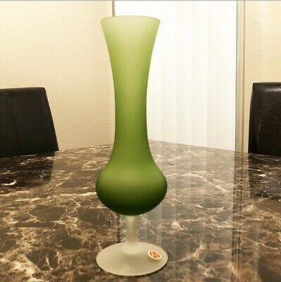 """Green Ombré Frosted Satin Glass Flower Bud Vase With Base Made In Italy 8.75"""""""
